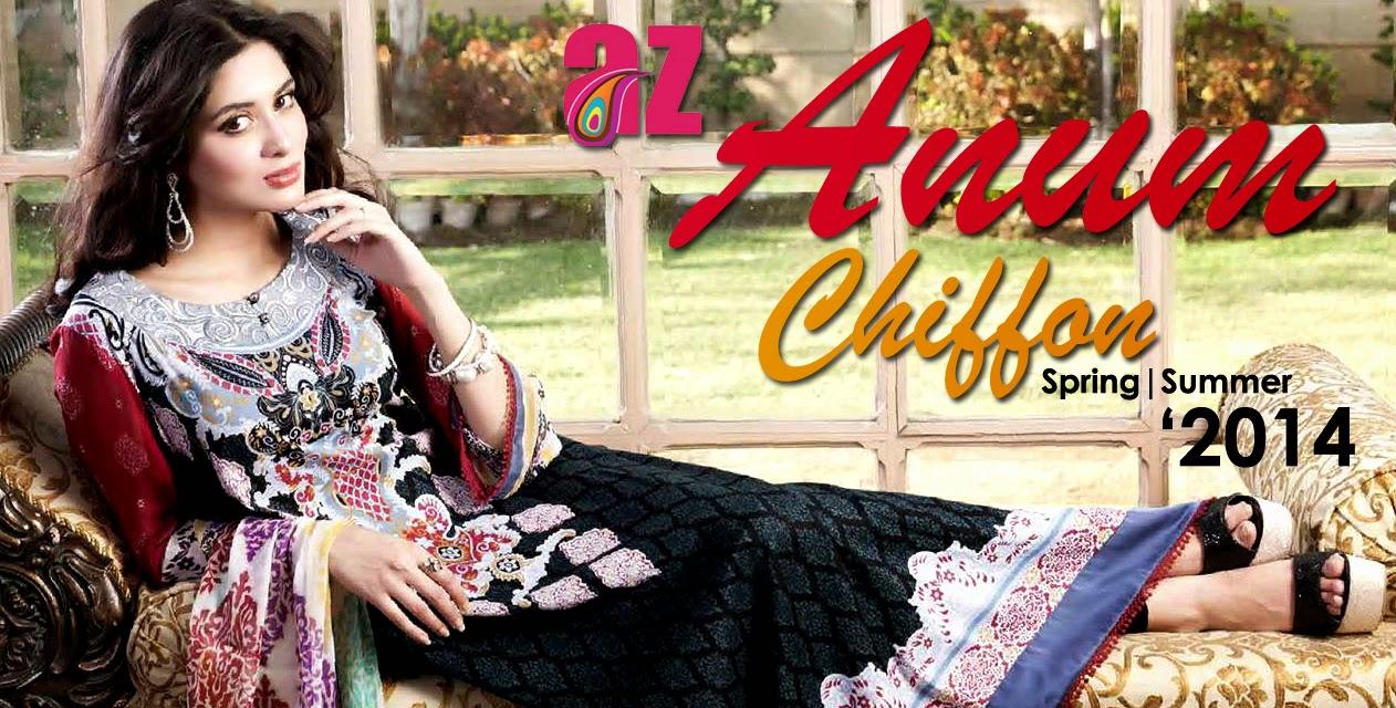 Al ZohaibTextileAnumChiffonCollection2014 wwwfashionhuntworldblogspotcom 001 - Anum Chiffon Collection 2014 By Al-Zohaib Textile