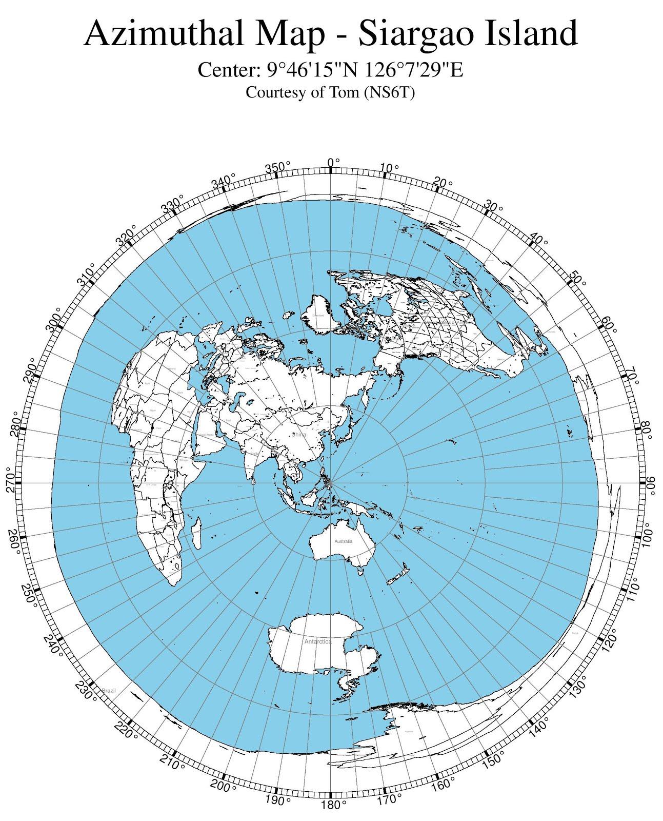 Azimuthal Map - Siargao Island
