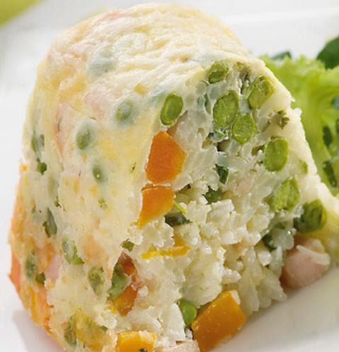 Arroz de forno com queijo e legumes light