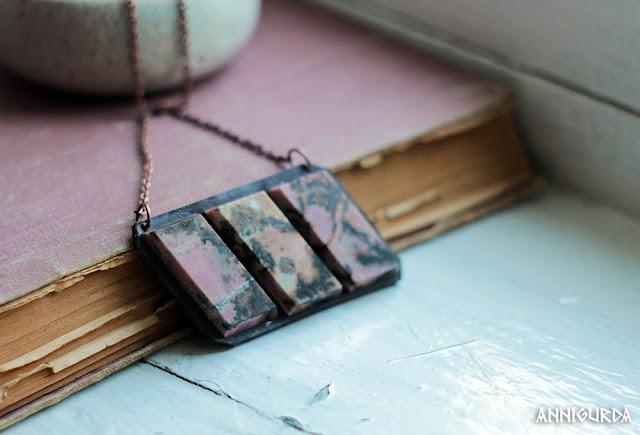 украшения, бижутерия, камни, кожа, колье, кулон, коричневый, розовый