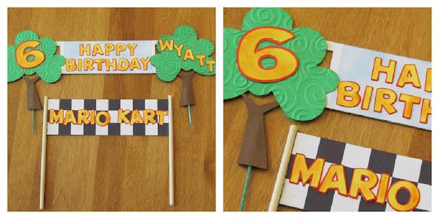 Mario Kart Birthday Cake Banner
