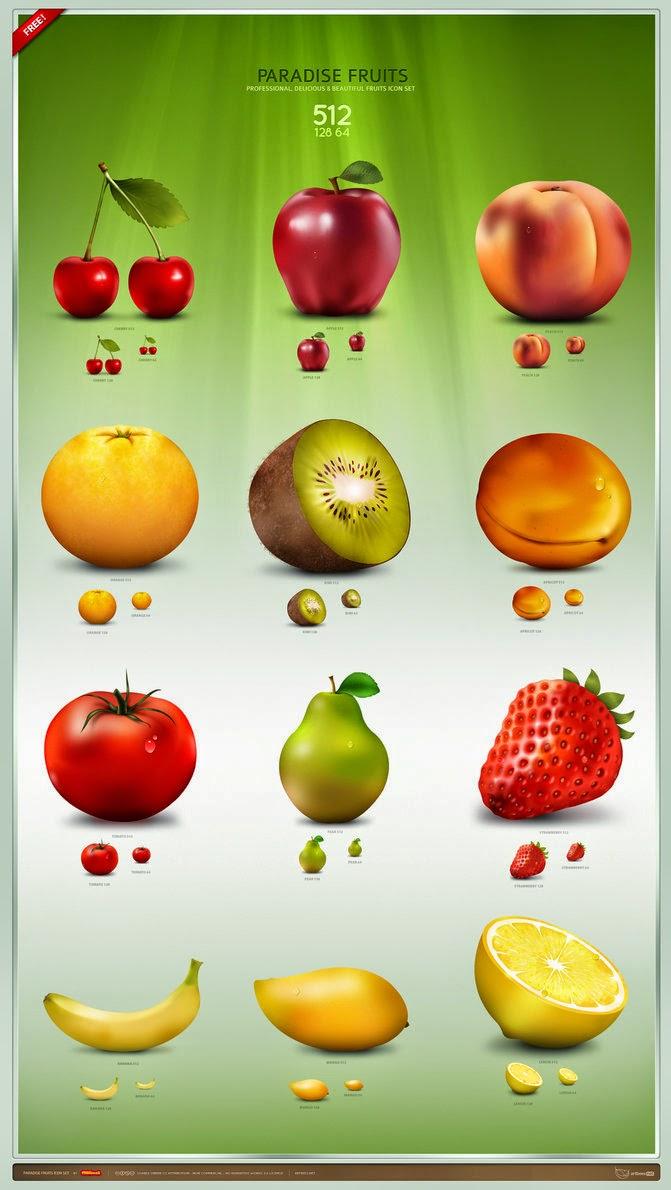 Paradise Fruits Icons Set