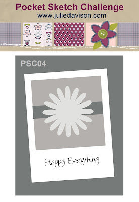 Pocket Sketch Challenge PSC04: Easy Card Layouts to Inspire from Julie Davison www.juliedavison.com - Play Along for your chance to win a free card-making tool: Pocket Full of Sketches Layout book