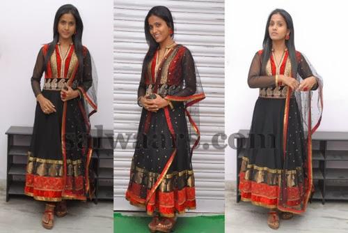 Prashanti in Black Anarkali Salwar