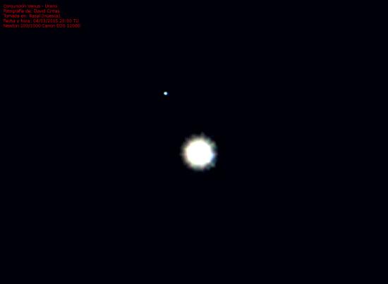 Conjuncion Venus y Urano 2015 - El cielo de Rasal