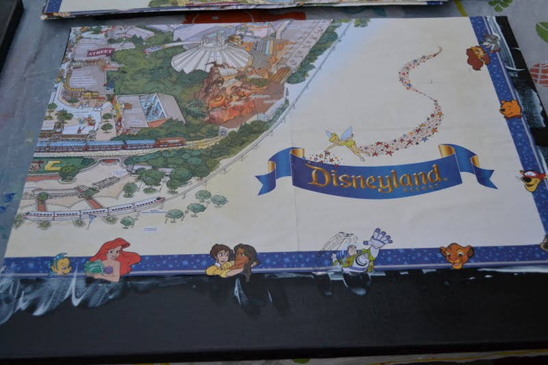 Nifty thrifty thriving disneyland map redo once the modge podge was dry i let my son paint a top coat of mod podge to protect the map he loved being able to help on a project for his gumiabroncs Gallery