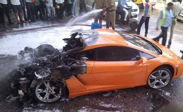 Lamborghini-Gallardo-fire-accident-Delhi-India