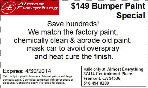 Discount Coupon Almost Everything $149 Bumper Paint Sale April 2014