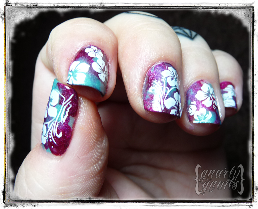 Rockabilly luau hibiscus flowers theme gnarly gnails wait a good while for your stamping or painted design to dry before you top coat so you dont smear all that hard work prinsesfo Choice Image