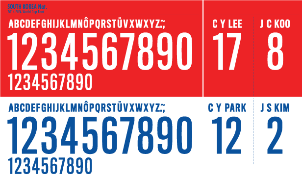 South Korea WC 2014 kits Font
