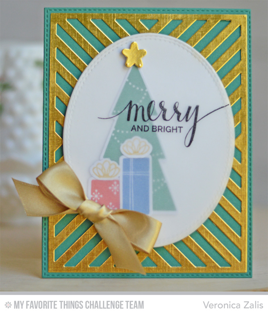 Merry & Bright Card by Veronica Zalis featuring the Lisa Johnson Designs Trim the Tree stamp set and Die-namics, Hand Lettered Holiday stamp set, and the Four Way Chevron Cover-Up Die-namics #mftstamps