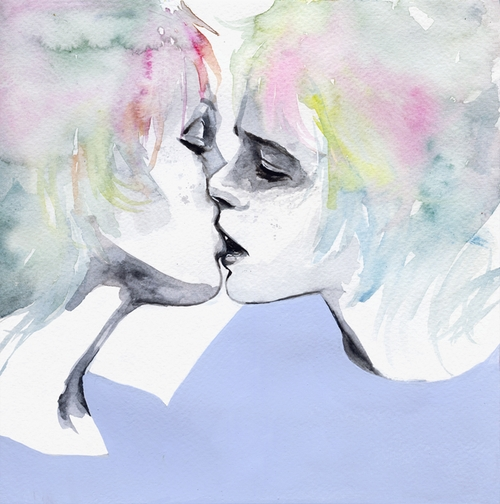 11-Lonely-Boy-and-Girl-Silvia-Pelissero-agnes-cecile-Watercolor-and-Oil-Paintings-Fading-and-Appearing-www-designstack-co