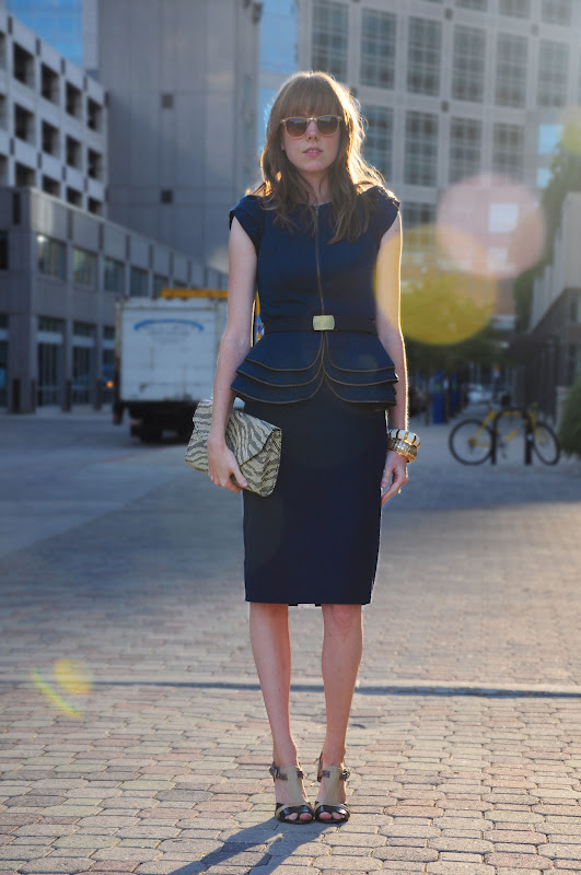 Navy Zipper Peplum Dress