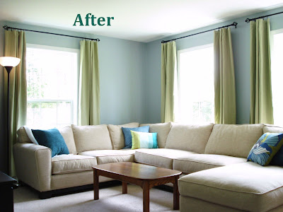 New, Blue Living Room {Before And After}