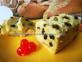 Cara Membuat Puding Roti Tawar Kukus Keju Kismis