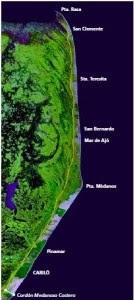 foto satelital costera de la provincia de buenos aires