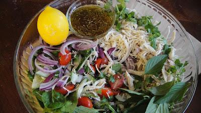 Shredded Chicken Herbal Salad Recipe