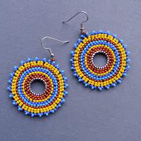 bohemian ethnic beaded earrings circular colorful beadwork