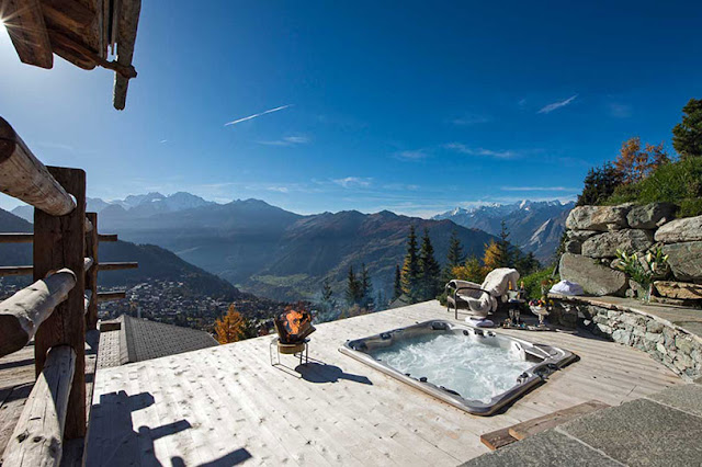 Picture of Swiss Alps from the terrace with outdoor jacuzzi