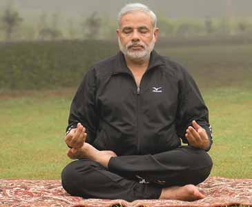 Narender Modi practing for Yoga and Pranayam