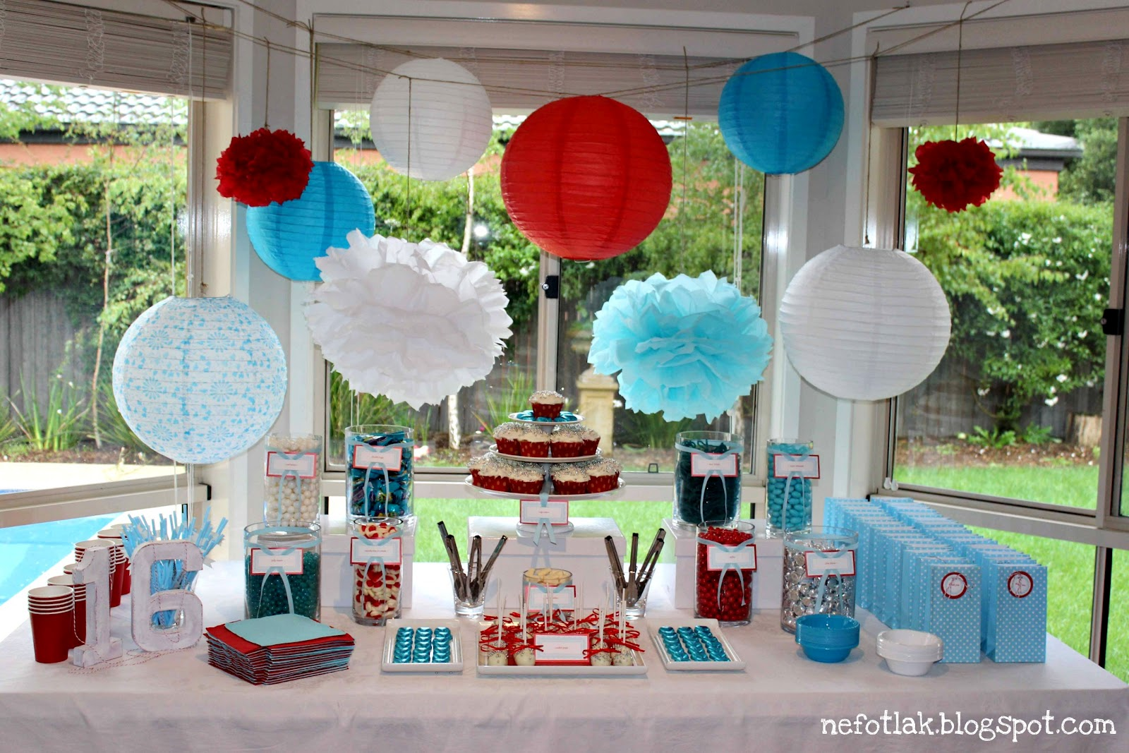 Nefotlak 16th b 39 day party candy bar dessert table for B day decoration ideas