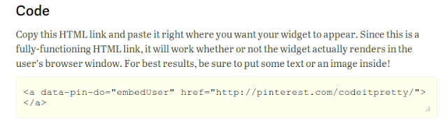 example of Pinterest widget code