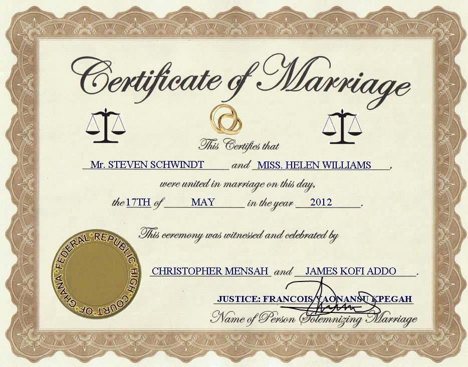 marriage certificate oregon suprise steven