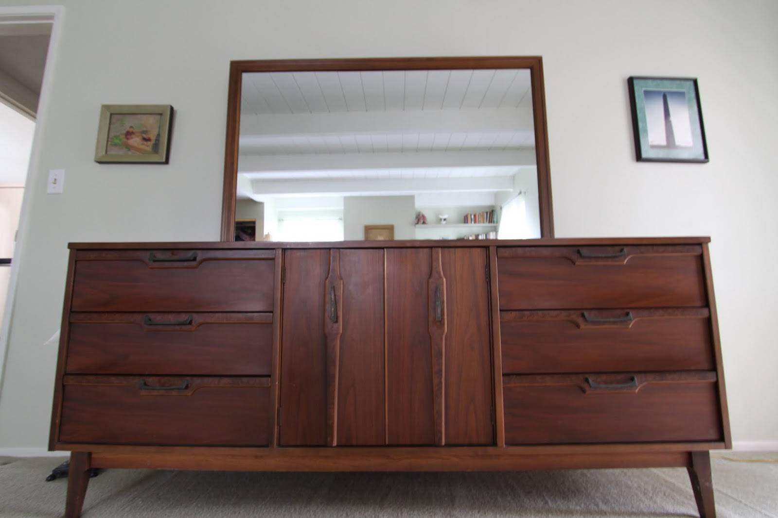 Detail on handles mid century modern dresser lenoir house a division of broyhill
