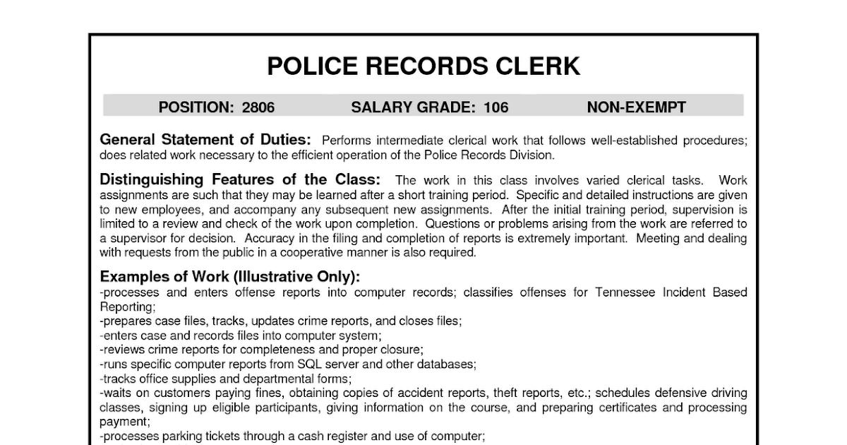 resume samples  police records clerk