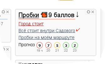 "Информер Яндекса ""Пробки"""