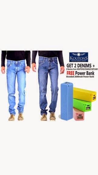 Buy Koutons Combo Of 2 Fit Denim Jeans With Power Bank at Rs. 649 only after cashback