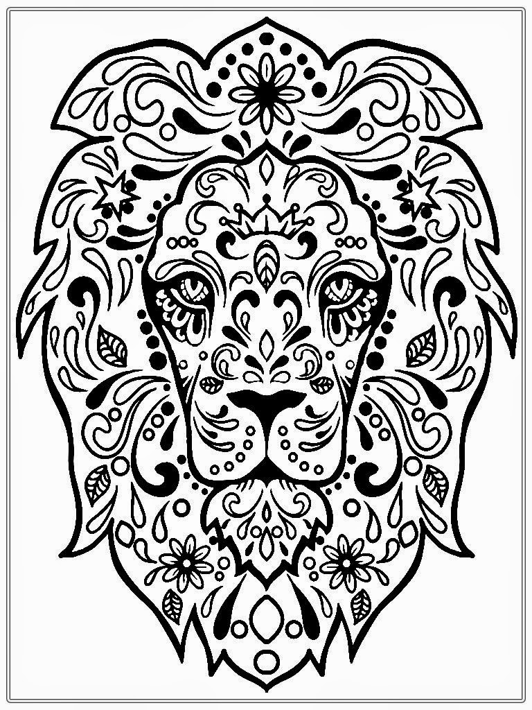 Realistic Lion Adult Coloring Pages Free