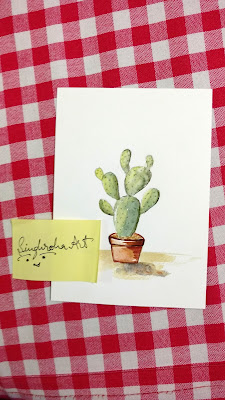 prickly pear desert pricklypear succulent cactus watercolor singhrohaart