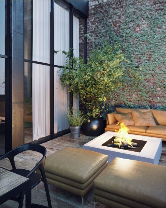 Outdoor fireplace on the penthouse