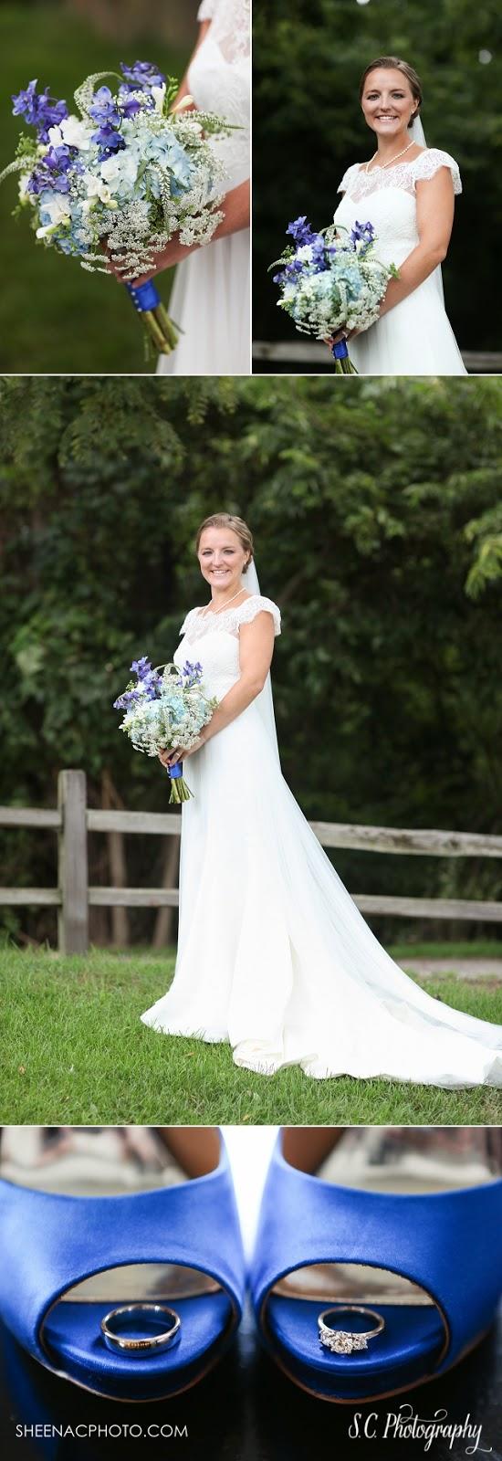 Raimon Bundo lace wedding dress, organza, blue wedding shoes, ring shot
