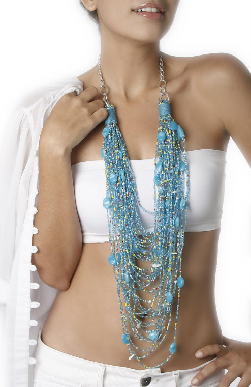 Collar Piedras Azul Aguamarina