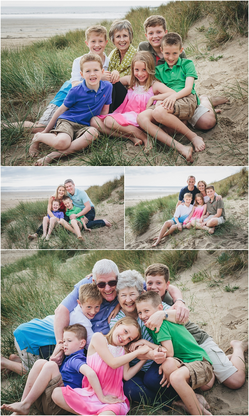 Children with their grandmother on the beach