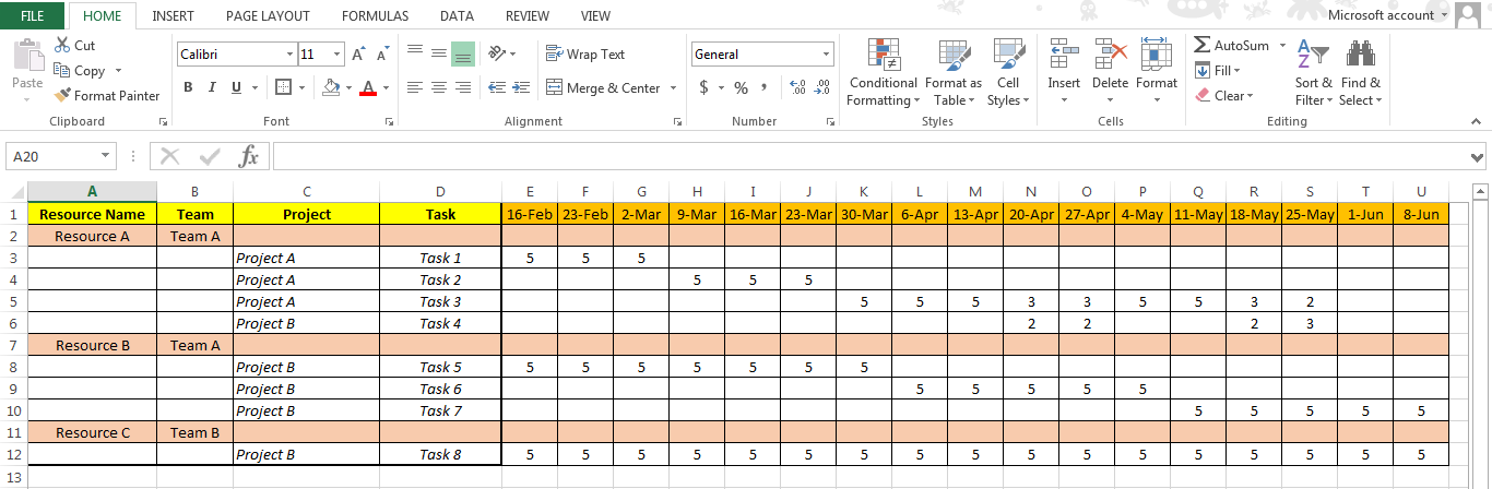 Excel project management templates over 100 free downloads simple resource plan pronofoot35fo Image collections