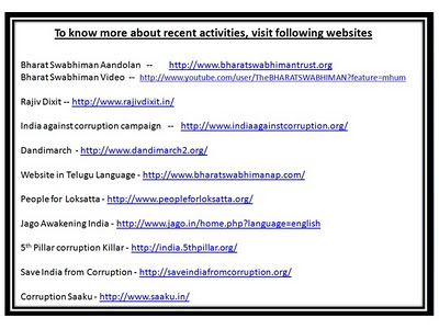 Websites running for Lokpal bill and other social causes