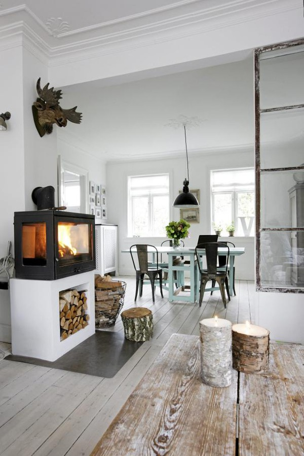 fire place design danish rustic home