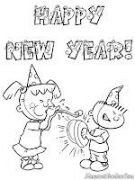 Gambar Menyambut Tahun Baru Untuk Diwarnai
