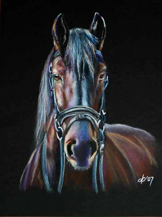 رسم حصان بالباستيل