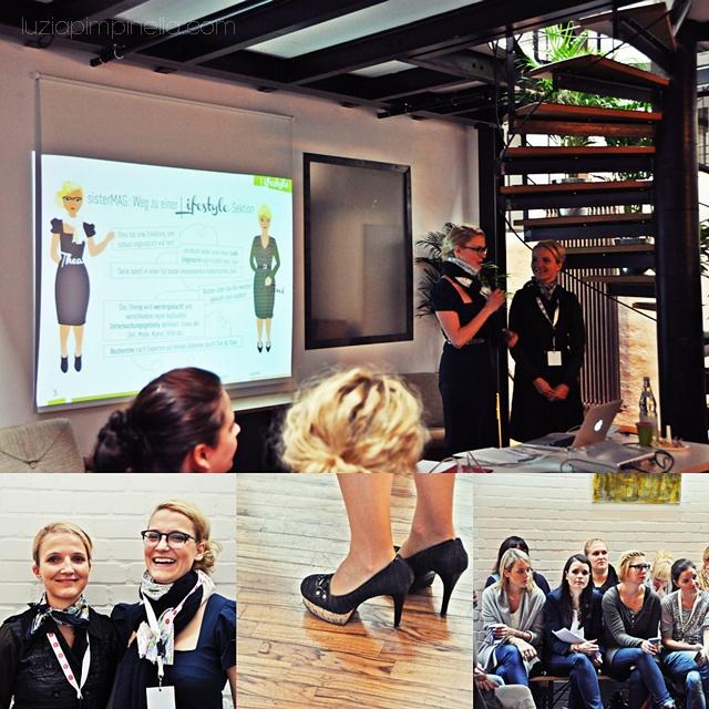 [ luzia pimpinella BLOG ] eine fotocollage mit bildern von der BLOGST blogger konferenz: die mädels vom sister mag und zuhörerinnen