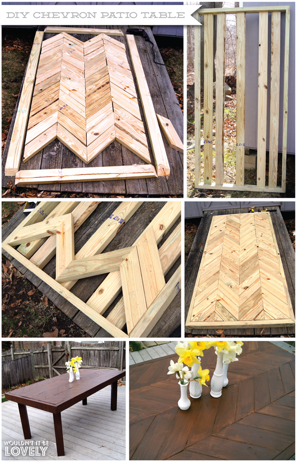 Wouldn 39 t it be lovely diy chevron patio table for Diy pallet patio table