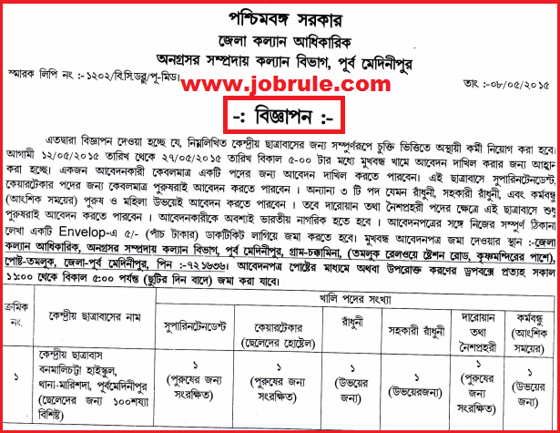Purba Medinipur District Latest Contractual Staff Recruitment in Central Hostel under BJRCY May 2015