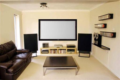 gambar model dan konsep desain ruangan home theater pribadi modern didalam rumah