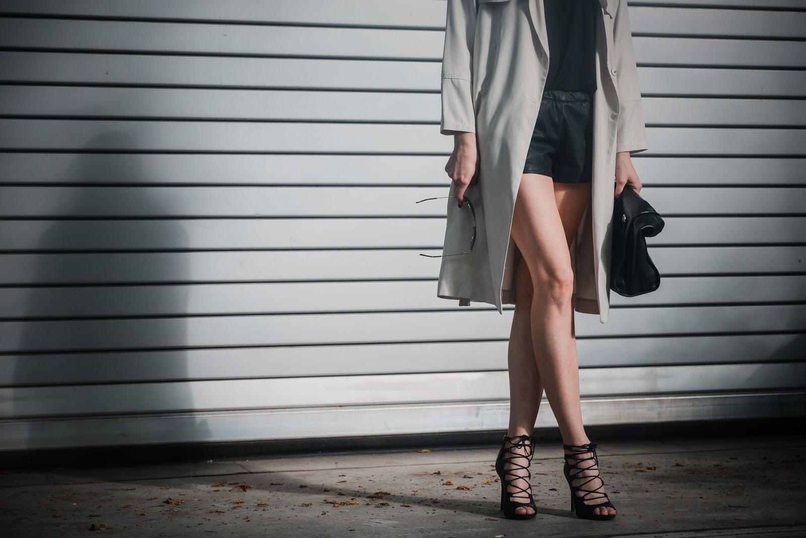 zara leather shorts, hm long beige trench coat, lace up heels, style blogger, fashion blog