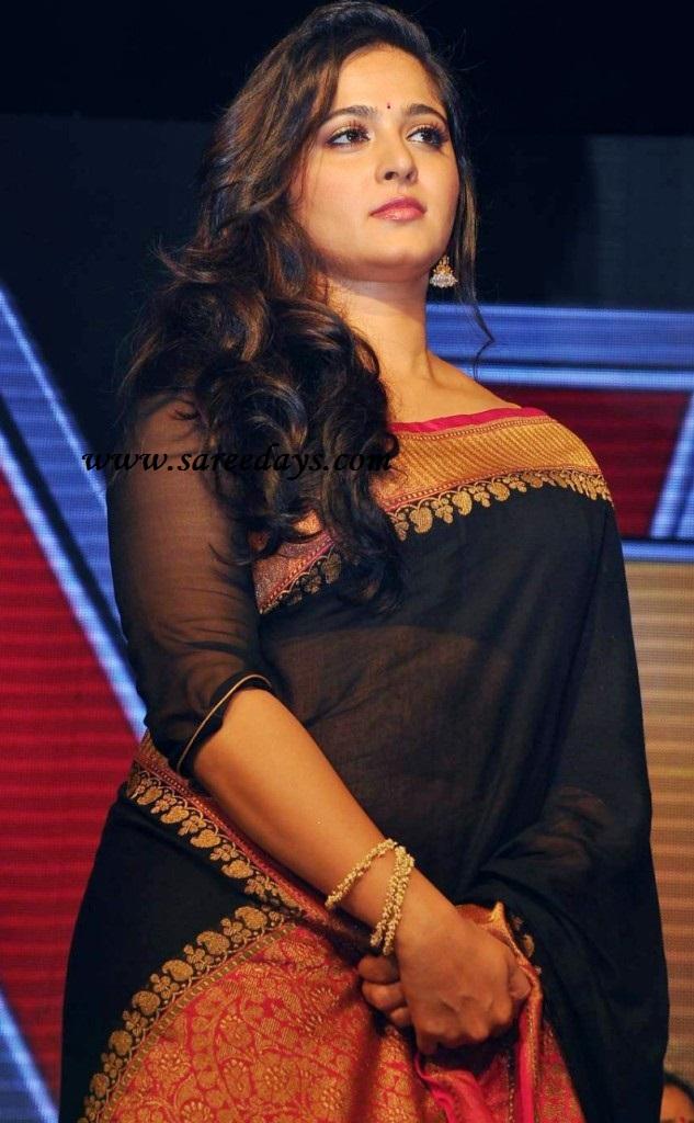 Latest saree designs anushka in black designer saree anushka in black designer saree altavistaventures Image collections