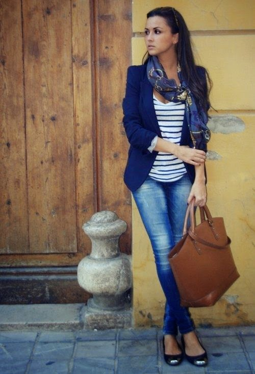 Navy T-shirt With Denim Jeans And Jacket