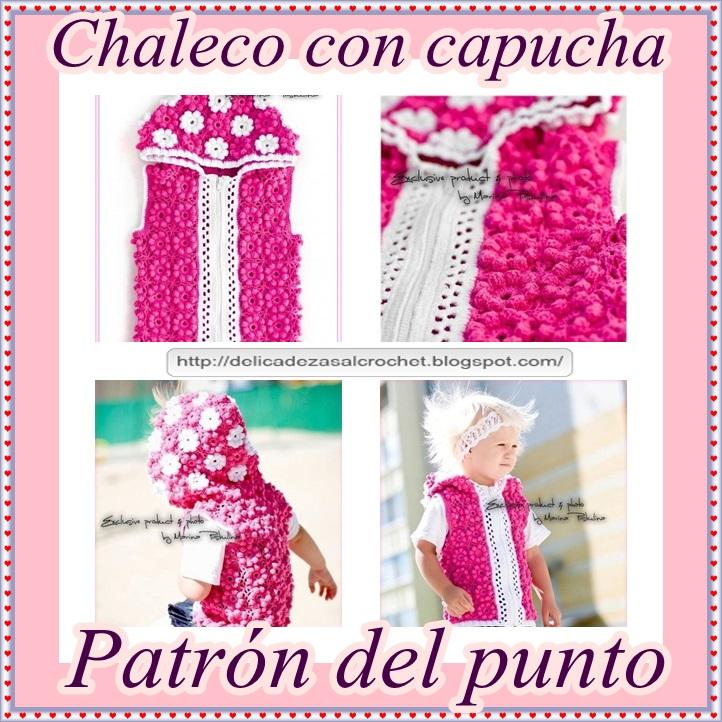 Delicadezas en crochet Gabriela: Chaleco con capucha diseño floral ...